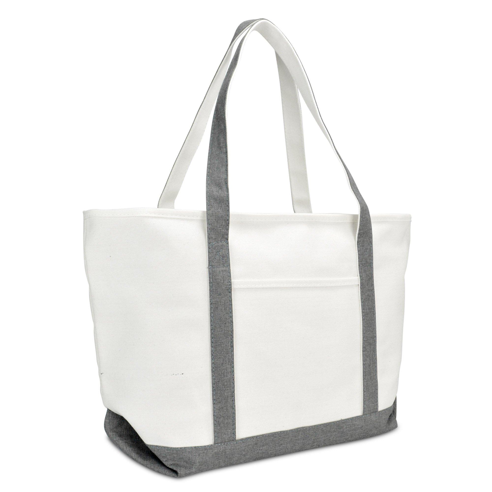 DALIX 23'' Premium 24 oz. Cotton Canvas Shopping Tote Bag (Gray)