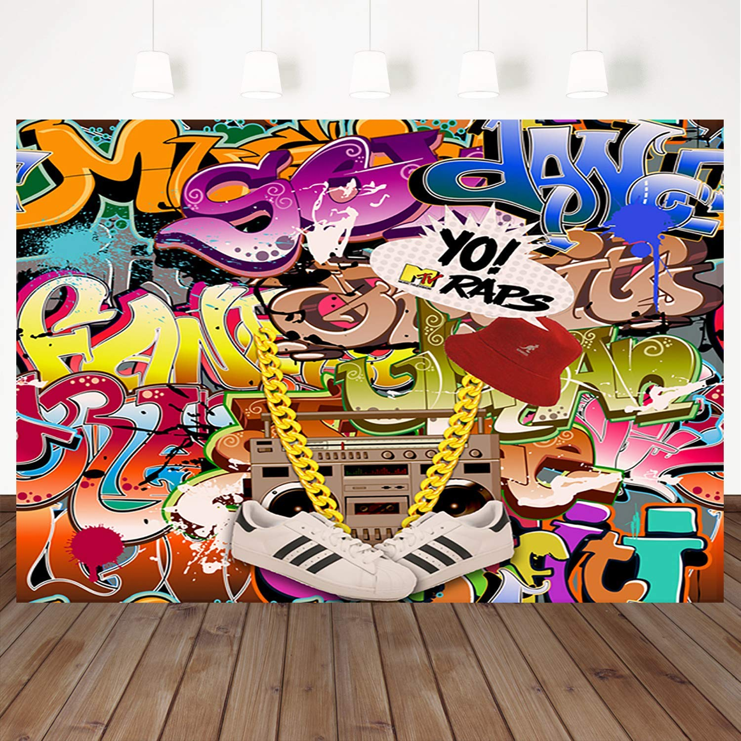 Amazon com mehofoto hip hop graffiti backdrop retro 80th 90th themed party photography backdrops 7x5ft urban art graffiti wall background for picture