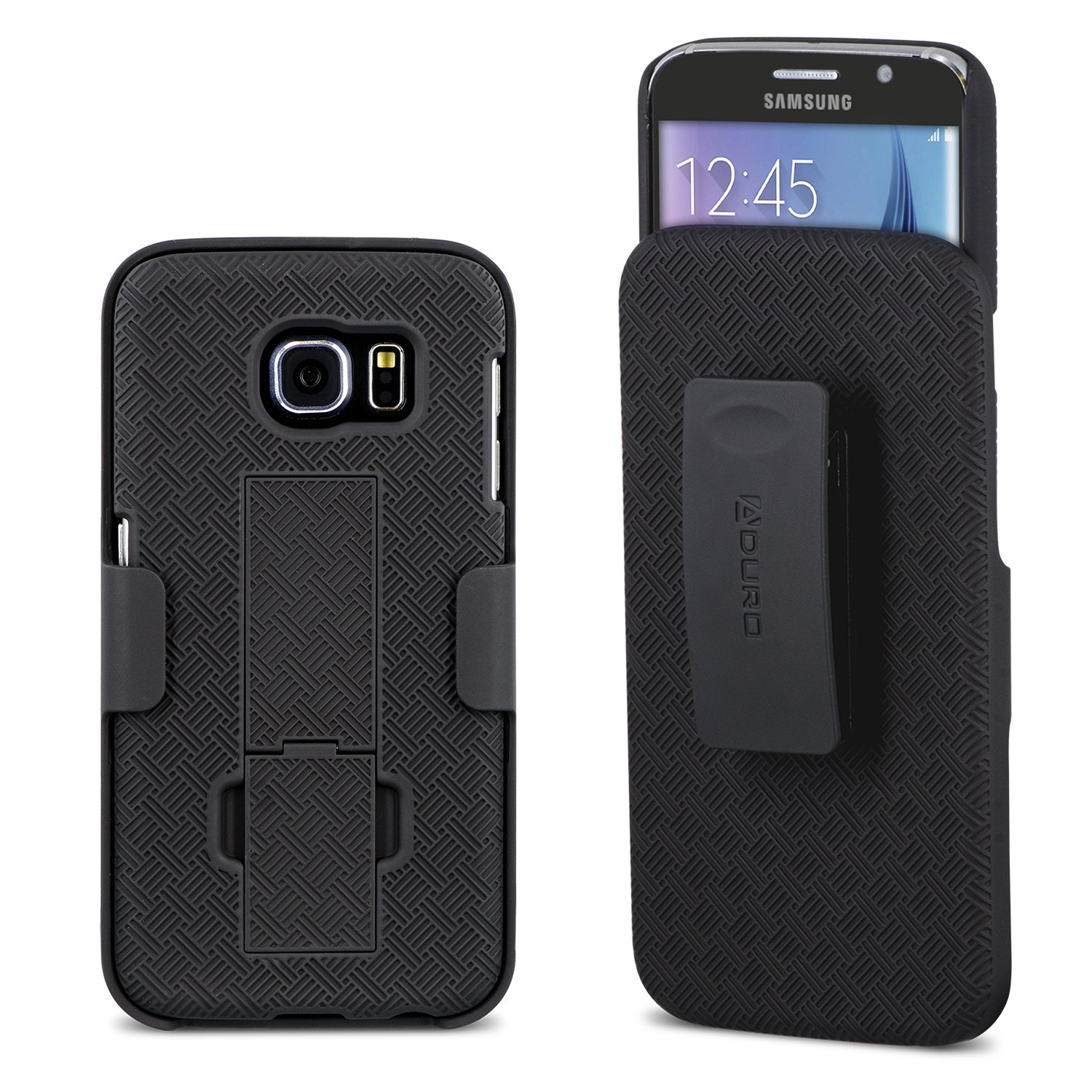 Galaxy S6 Case, Aduro Shell & Holster COMBO Case Super Slim Shell Case w/Built-In Kickstand + Swivel Belt Clip Holster for Samsung Galaxy S6