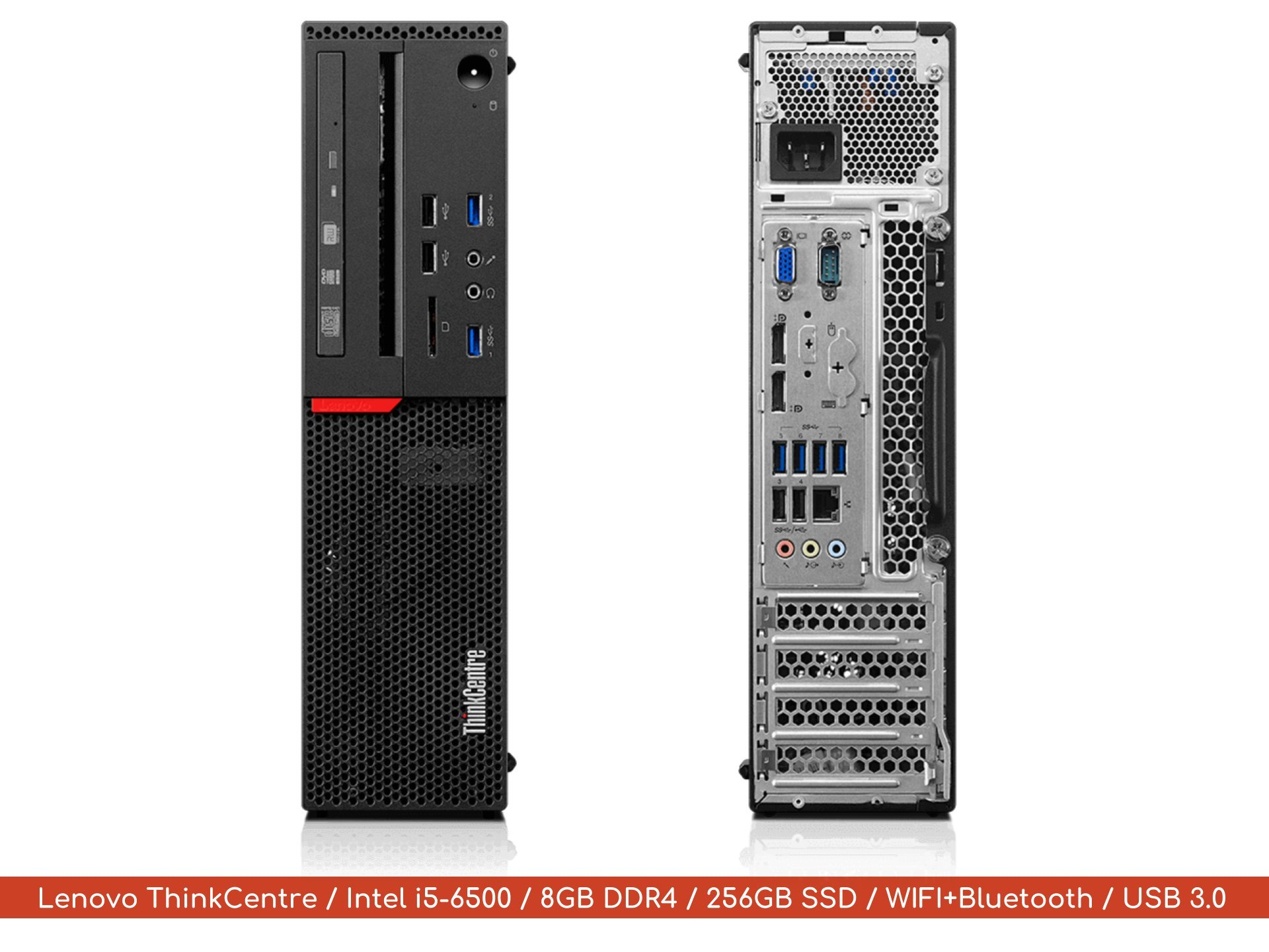 Lenovo ThinkCentre i5 8GB 256GB Quad Core Desktop | 2018 Flagship Premium Military Level | Intel Core i5-6500 Up to 3.6Ghz | DDR4 | SSD | Windows 10 Professional | WIFI | Bluetooth | Keyboard | Mouse by Lenovo ThinkCentre