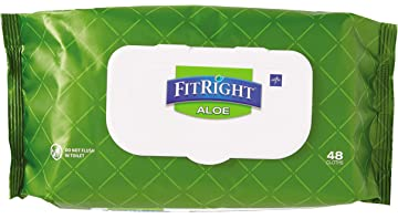 FitRight Aloe Quilted Heavyweight Personal Cleansing Cloth Wipes, Unscented, 576 Count, 8 x