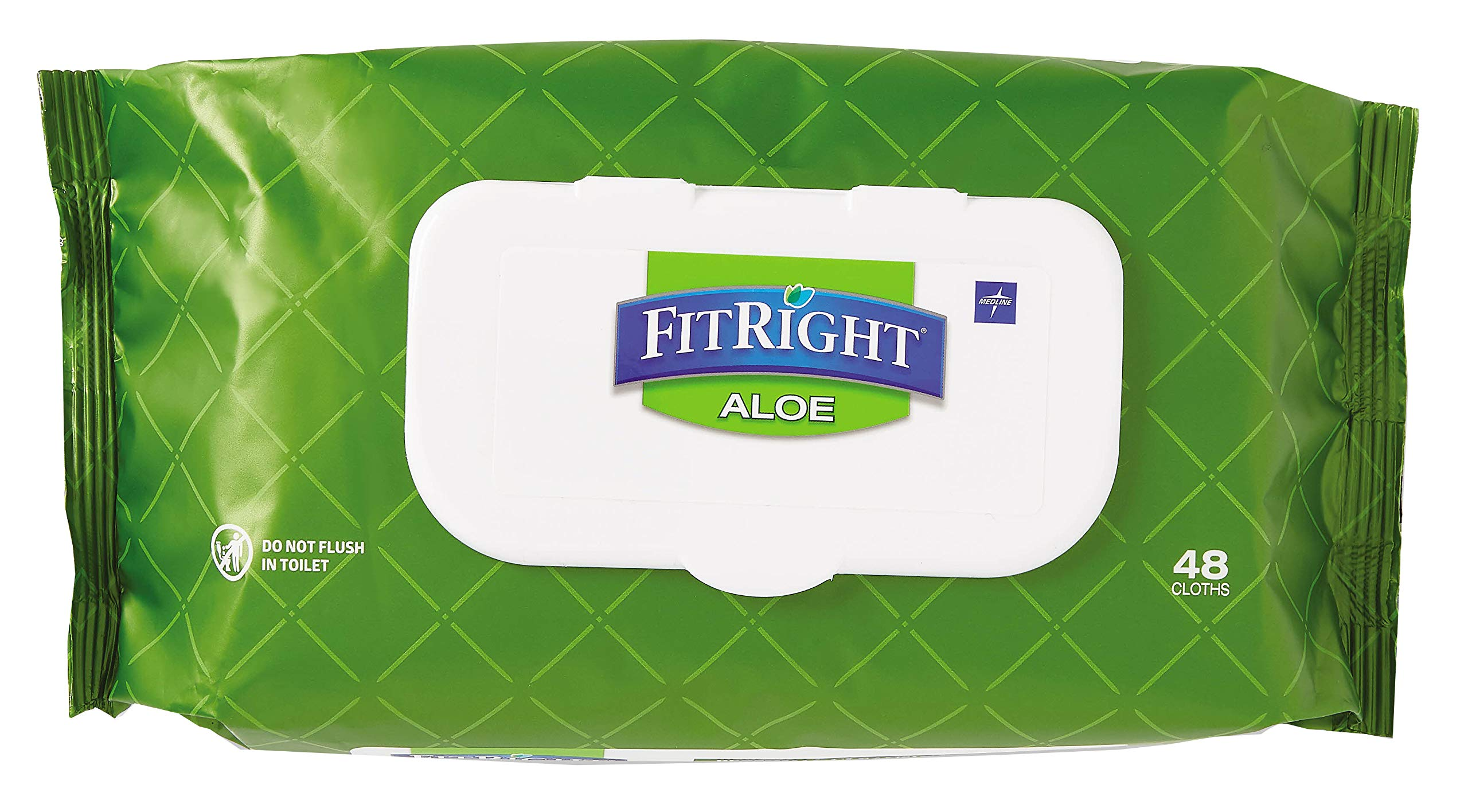 FitRight Aloe Quilted Heavyweight Personal Cleansing Cloth Wipes, Unscented, 576 Count, 8 x 12 inch Adult Large Incontinence Wipes by Medline