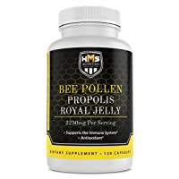 HMS Nutrition Premium Bee Pollen Daily Dietary Supplement - Includes Propolis & Royal Jelly - 3250mg Non-GMO, 120 Vegetarian Capsules - 30 Day Supply
