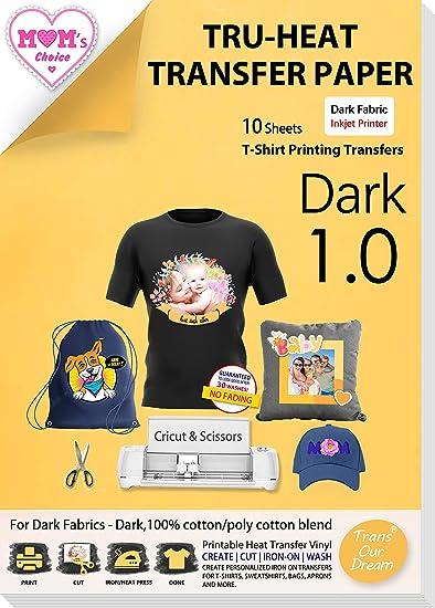 TransOurDream Real - Papel de Transferencia Térmica Para Camisetas y Tejidos Oscuros(A4x10 Hojas)Fácil de Usar, Compatible con Impresoras de Inyección ...