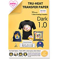 TransOurDream Tru-Iron on Heat Transfer Paper for Dark Fabric (10 Sheets,A4) T shirt Transfers Paper for Inkjet Printer…