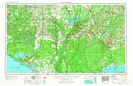 Map Of Florida Showing Tallahassee.Amazon Com Yellowmaps Tallahassee Fl Topo Map 1 250000 Scale 1 X