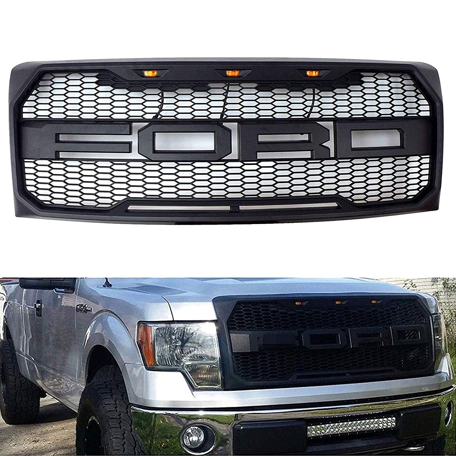Amazon Com Front Grille Fits 2009 2014 Ford F150 Raptor Style Grill