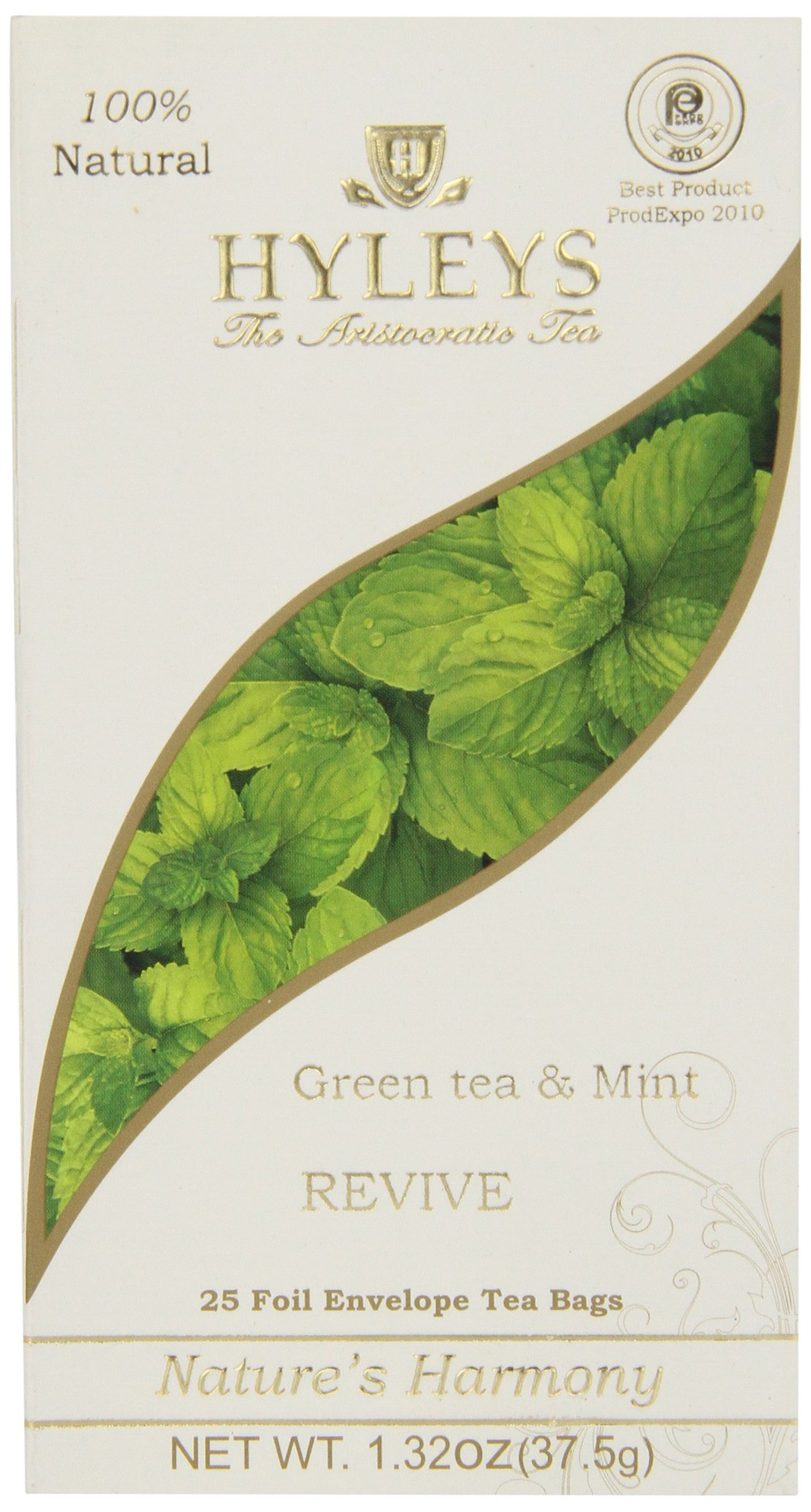 Hyleys Tea Nature's Harmony Green Tea Bags with Mint In Foil Envelopes, 1.32-Ounce Packages (Pack of 12) by HYLEYS Tea