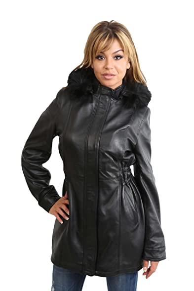 Ladies 3/4 Length Parka Leather Coat Black Detachable Hood Fitted ...