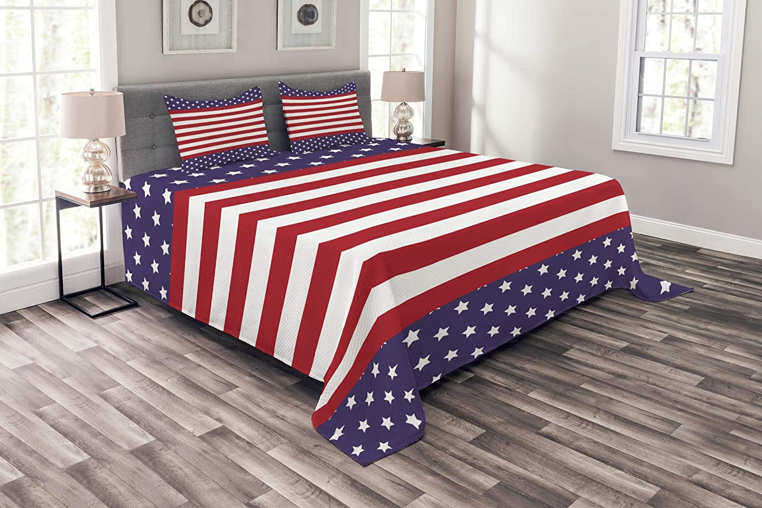 Lunarable Striped Bedspread, American Flag with Stars Stripes USA Royalty Emblem Nation Country Print, Decorative Quilted 3 Piece Coverlet Set with 2 Pillow Shams, King Size, Violet White