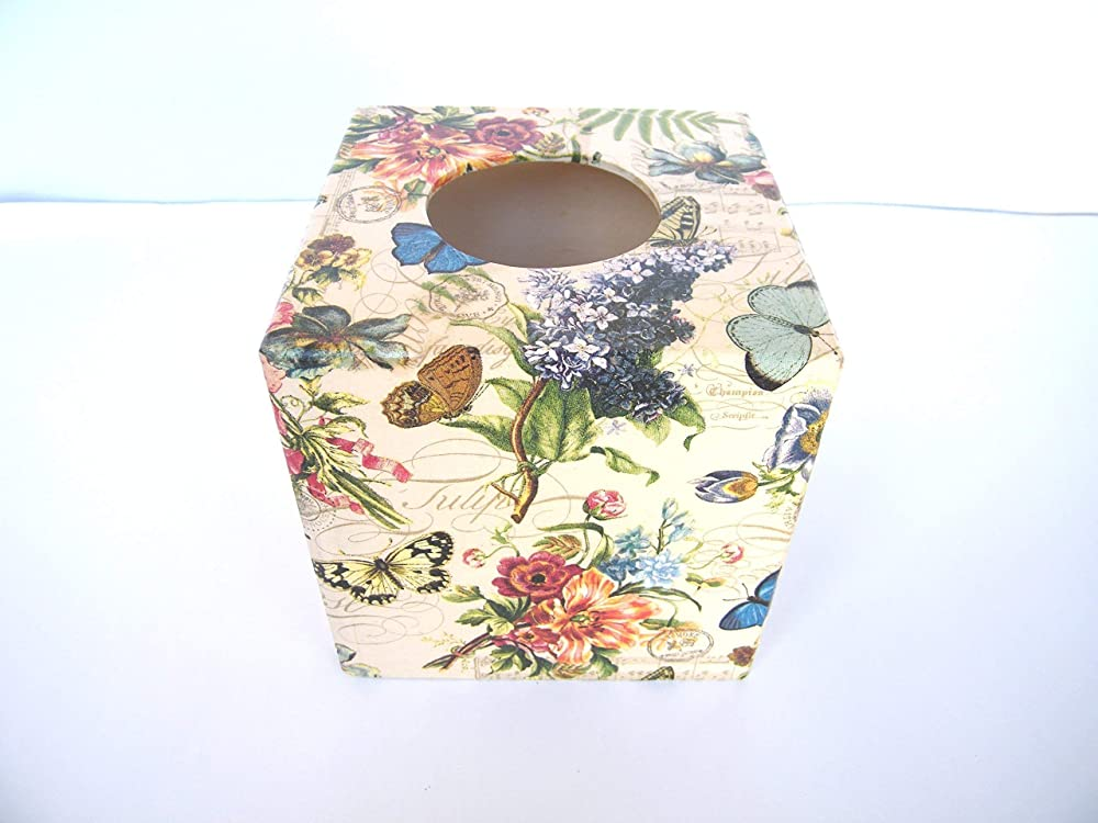 Caja para Pañuelos, Porta Toallitas Faciales Caja de Madera Cubo Dispensador de Papel Servilletas Vintage Flores 13x13x13 cm: Amazon.es: Handmade