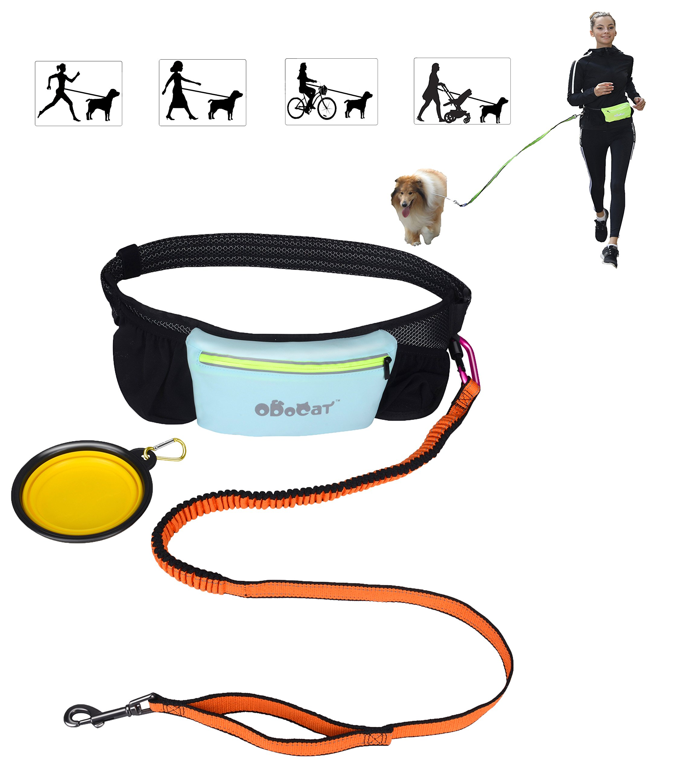 Odocat Hands Free Dog Leash for Walking, Jogging, Running with Shock Absorbing Bungee Adjustable Waist Belt Waterproof Zippered Pocket Foldable Travel Dog Bowl Ideal for Medium to Large Dogs