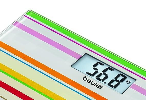 Beurer GS 27 - Báscula de baño de vidrio ultra plana, multicolor: Amazon.es: Salud y cuidado personal