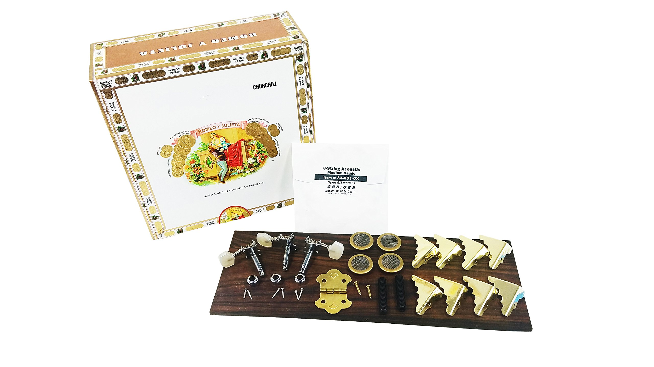 Basic Cigar Box Guitar Kit with Detailed Assembly Instructions