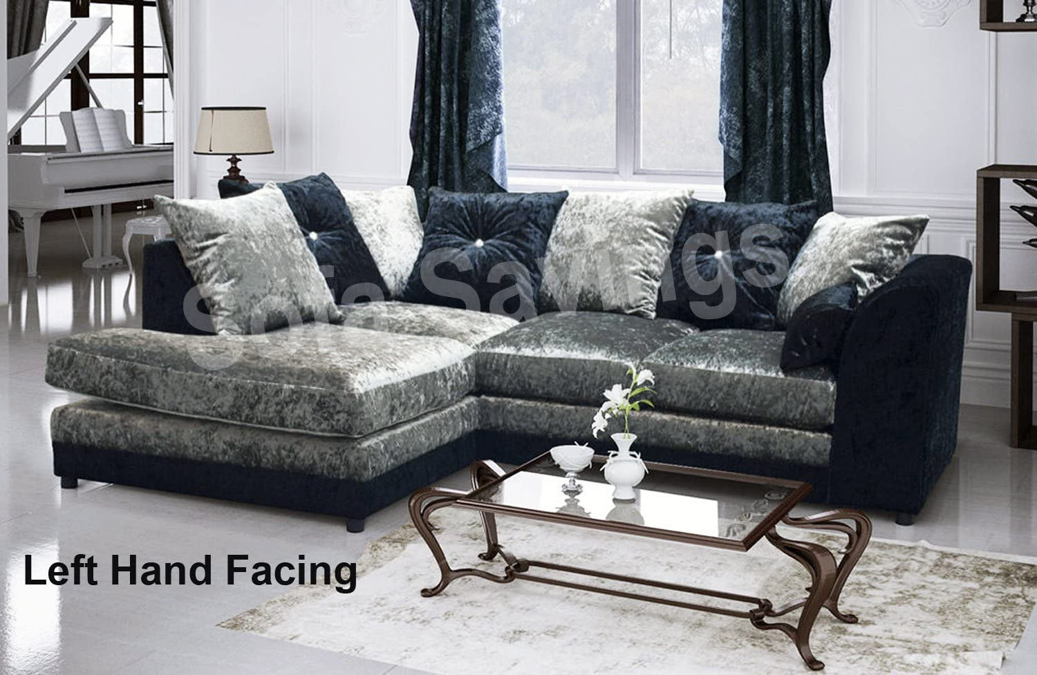 New Christine Crushed Velvet Fabric Corner Sofa Suite With Scatter Cushions Black And Silver Left Hand Facing Amazon Co Uk Kitchen Home