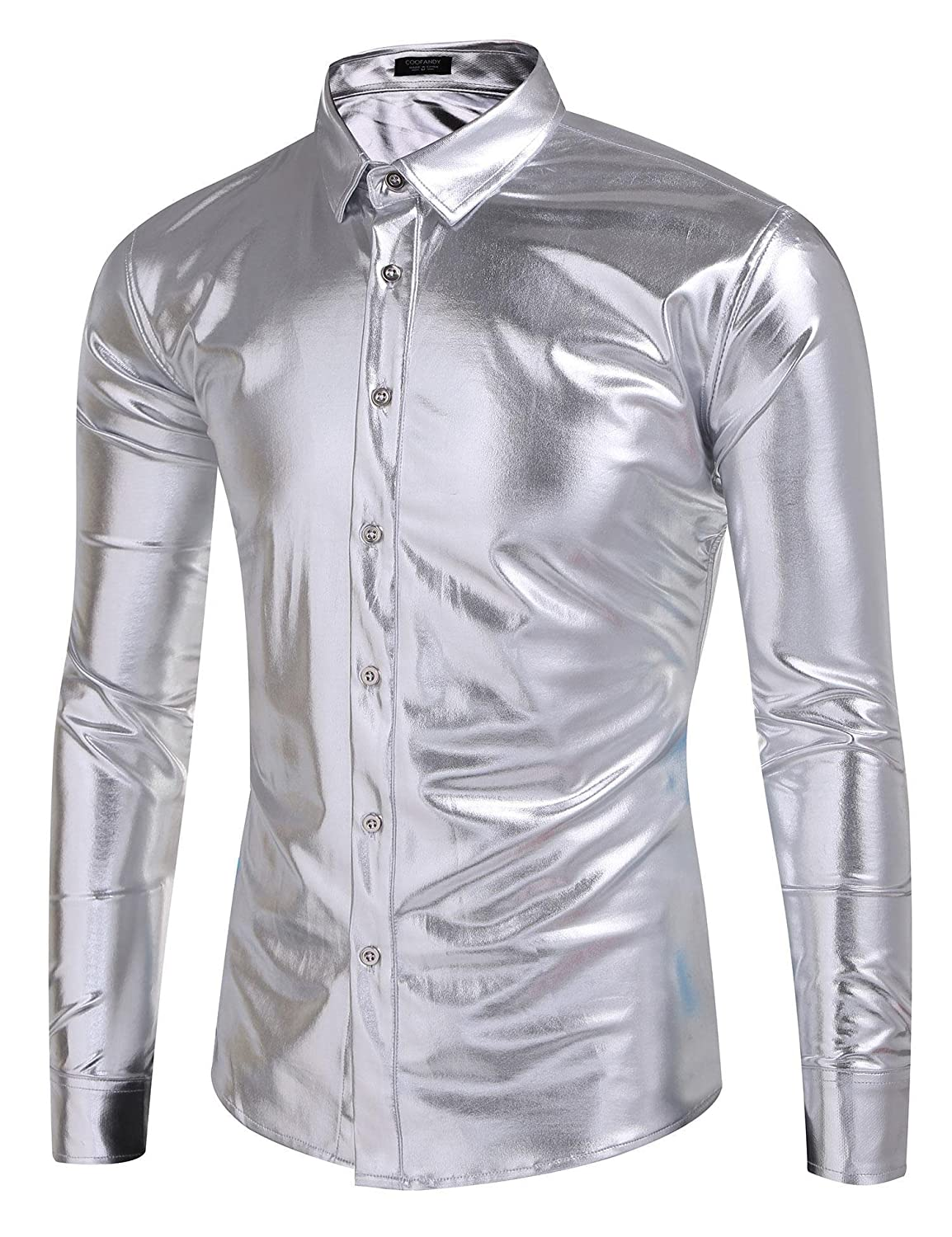 COOFANDY Men's Metallic Shiny Nightclub Slim Fit Long Sleeve Button Down Dress Shirts