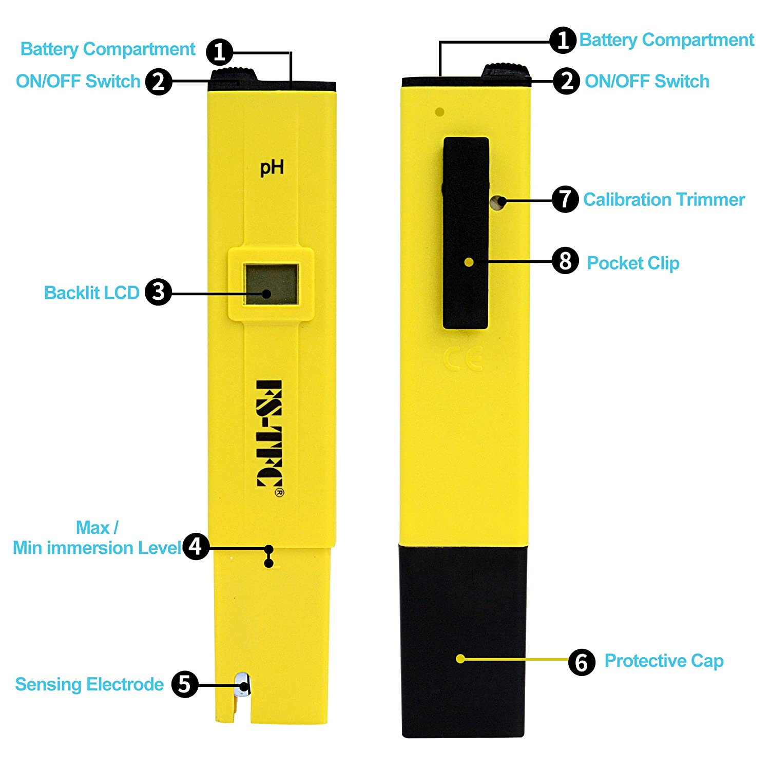 FS-TFC Digital Water Quality PH Meter with Auto Calibration Button and TDS Electronic Water Tester 0-9999 PPM