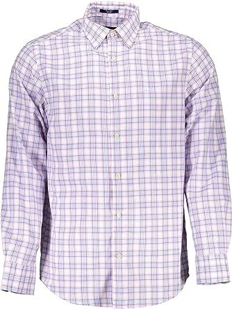 GANT Camisa Cuadros Oxford Azul Rosa L: Amazon.es: Ropa