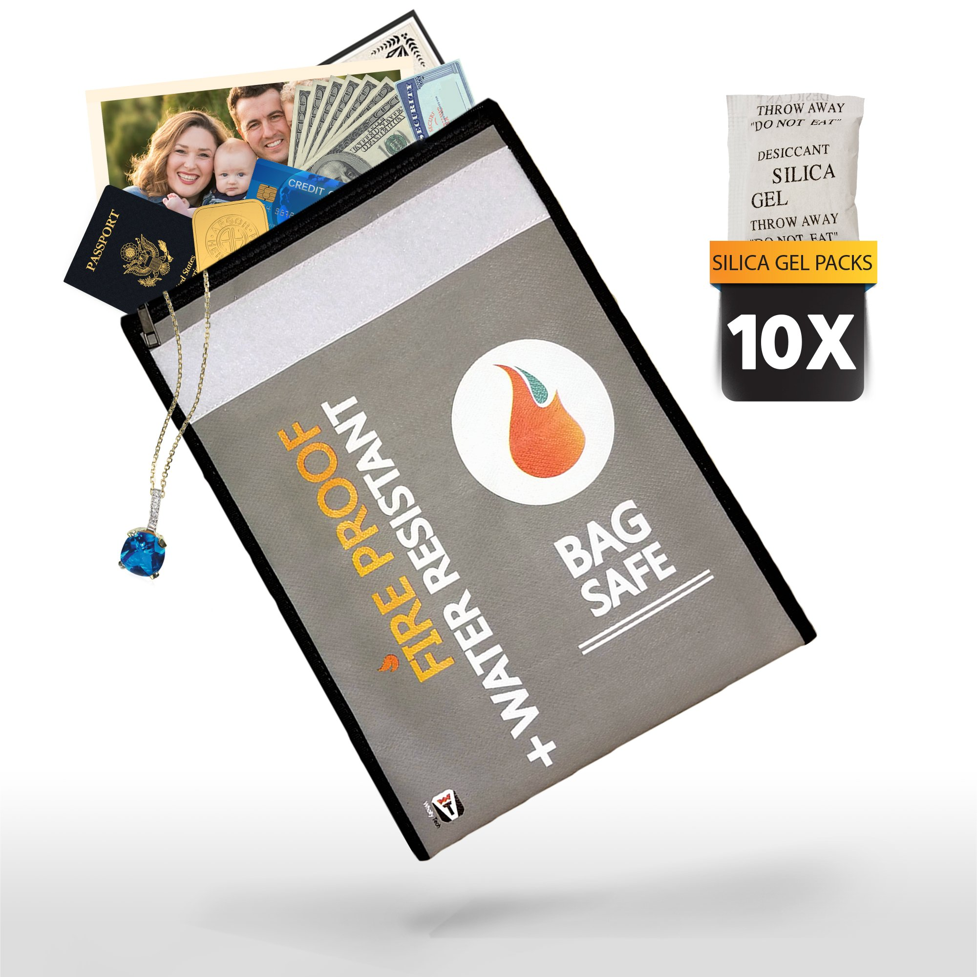 Fireproof Document Bag 15'' x 11''. Non-Itchy Money Bag with Zipper and Moisture Absorber Packs. Fireproof Safe Storage for Money, Documents, Jewelry and LiPo