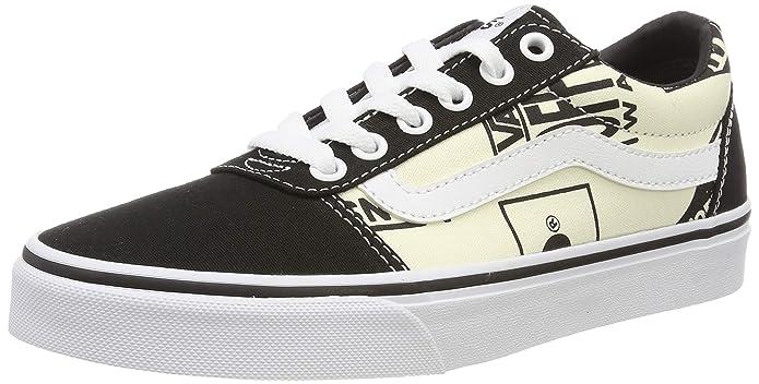 Vans Ward Schuhe Damen Kinder Schwarz Weiß mit Logo