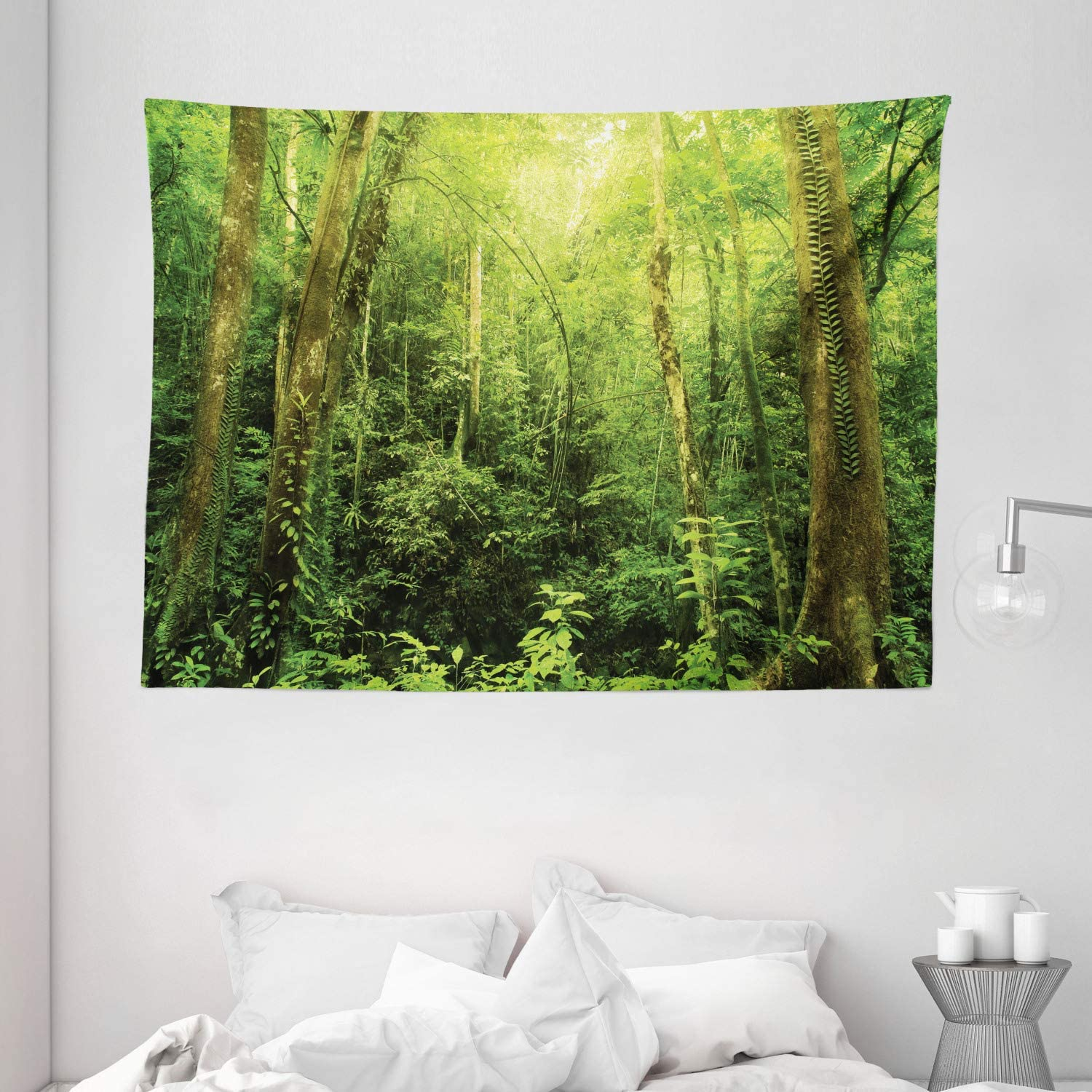"Ambesonne Rainforest Tapestry, Tropical Rainforest Landscape Malaysia Asia Green Tree Trunks Uncultivated Wood Print, Wide Wall Hanging for Bedroom Living Room Dorm, 80"" X 60"", Green Yellow"