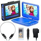 """Portable DVD Player for Car, Plane & more - 7 Car & Travel Accessories Included ($35 Value) - 9"""" Swivel Screen - Whopping 6 Hour Battery Life - Perfect Portable DVD Player for Kids"""