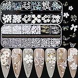 3D Acrylic Butterfly Flowers Bear Nail Charms Nail Art 3D, AB Crystal Rhinestones Multi Shapes Pearl Rhinestones Gold Metal N