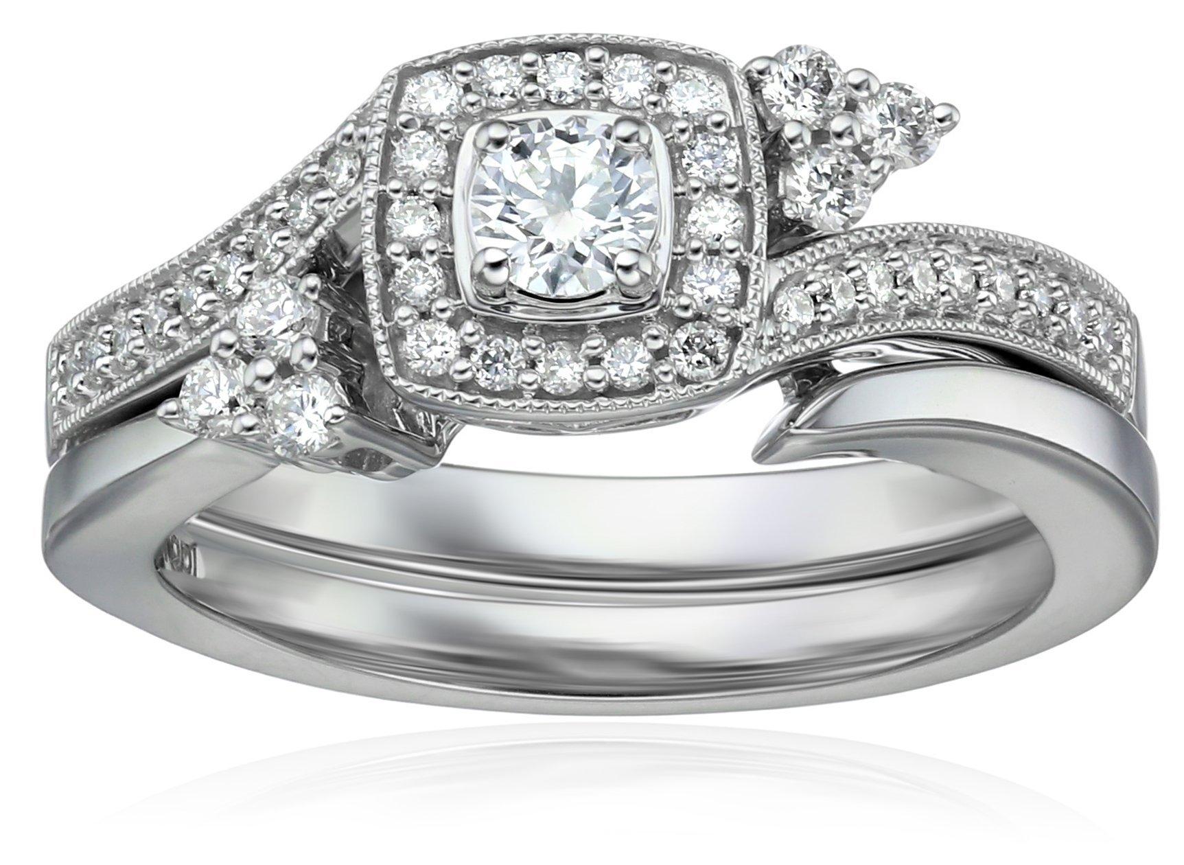 IGI Certified 14k White Gold Diamond Cushion Halo with Millgrain Wedding Ring Set (1/2cttw, H-I Color, I1-I2 Clarity), Size 7