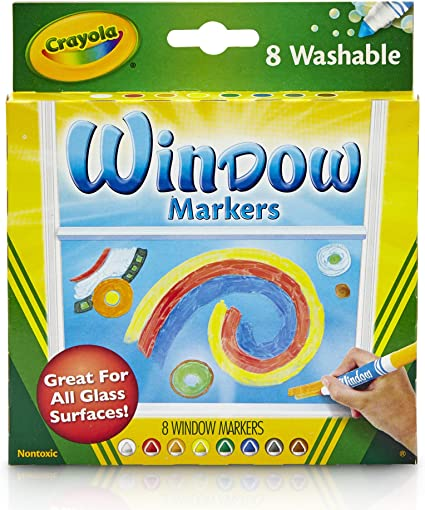 Set of 3 Crayola; Washable Window Markers; Art Tools; 8 Works on All Glass Surfaces