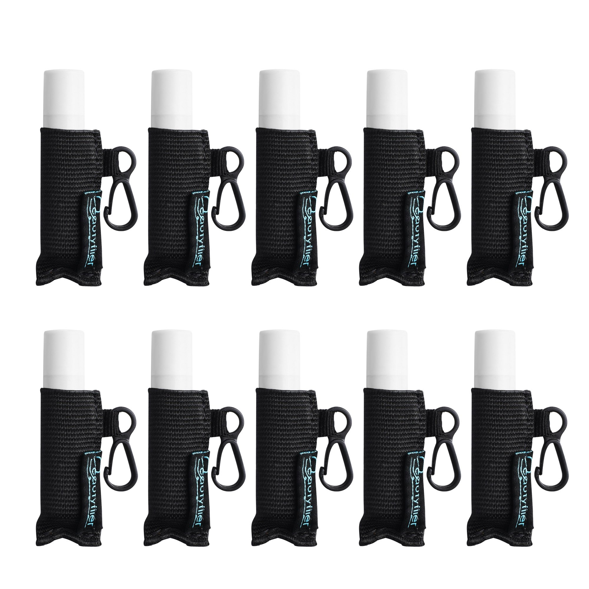 Beautyflier Pack of 10 Clip-on Sleeve Chapstick Pouch Keychain Lipstick Holder Elastic Lip Balm Holster Travel Accessories
