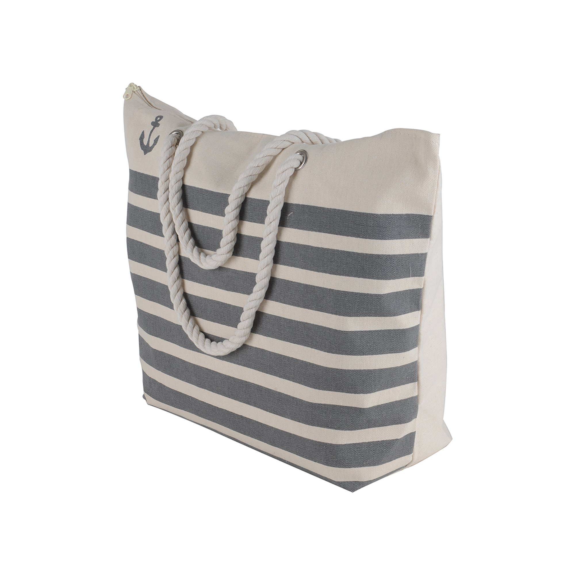 Canvas Heavy Cotton Rope Handles Stripe Zipper Closure Women Premium Straw Beach Tote Bag by BB (Grey) by BB (Image #2)