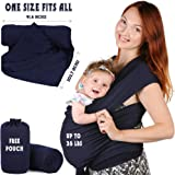 Baby Sling Wrap Carrier for Newborn - Wearing Infant Carriers, Toddler Moby Wraps by Bubble Pleasure, Stretchy Breastfeeding Slings Carrying, Best Shower Gift for Boys Or Girls (Navy Blue)