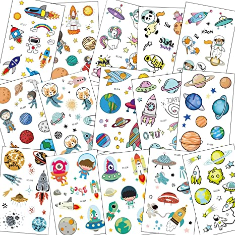 SZSMART Tatuajes Temporales para Niños Niñas, Dibujos Espacio ...