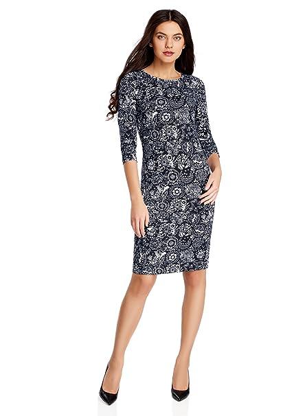 oodji Collection Mujer Vestido de Punto con Escote Gota en la Espalda, Azul, ES
