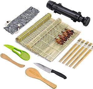 Sushi Making Kit, Bamboo Sushi Rolling Mat, All In One Sushi Bazooka Maker Beginner DIY Sushi Roller Machine