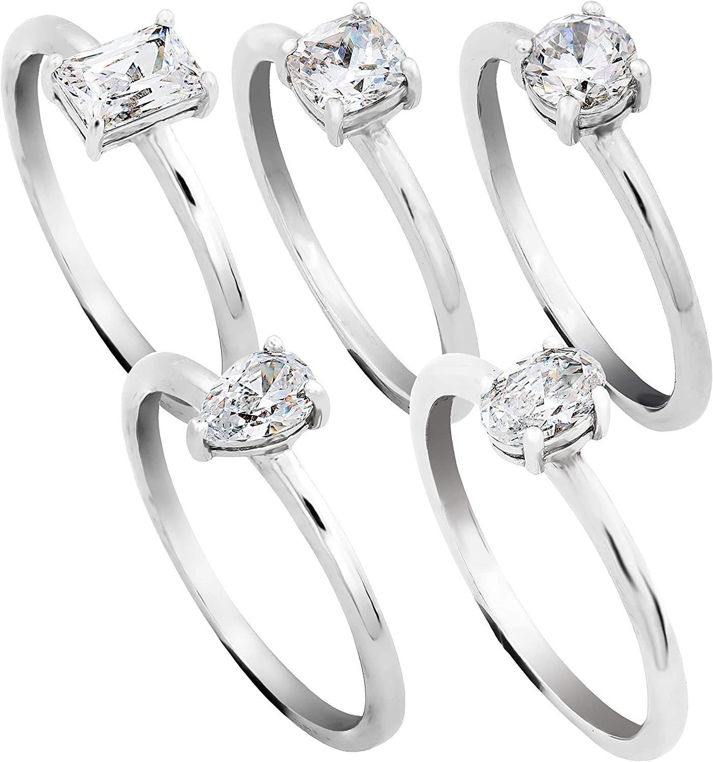 PAZ Creations .925 Sterling Silver Cubic Zirconia 5 Stack Ring Set