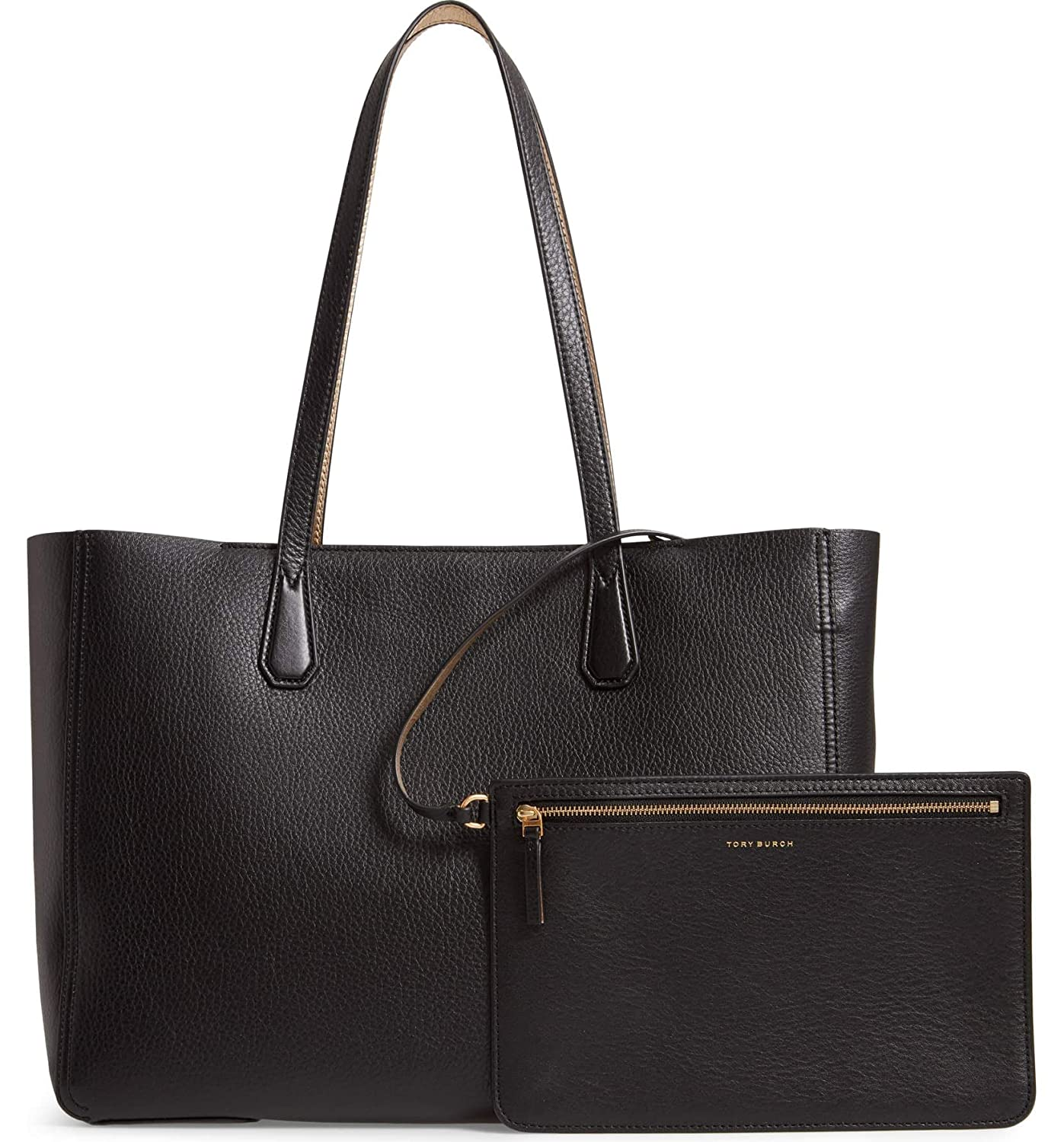 47b47d0d2025 Amazon.com  Tory Burch Perry Ladies Large Black   Gold Leather Reversible  Tote 50376-002  Shoes