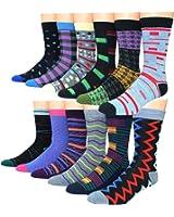 Frenchic Men's Premium Cotton Blend Colorful Patterned Dress Socks (12 Pairs)