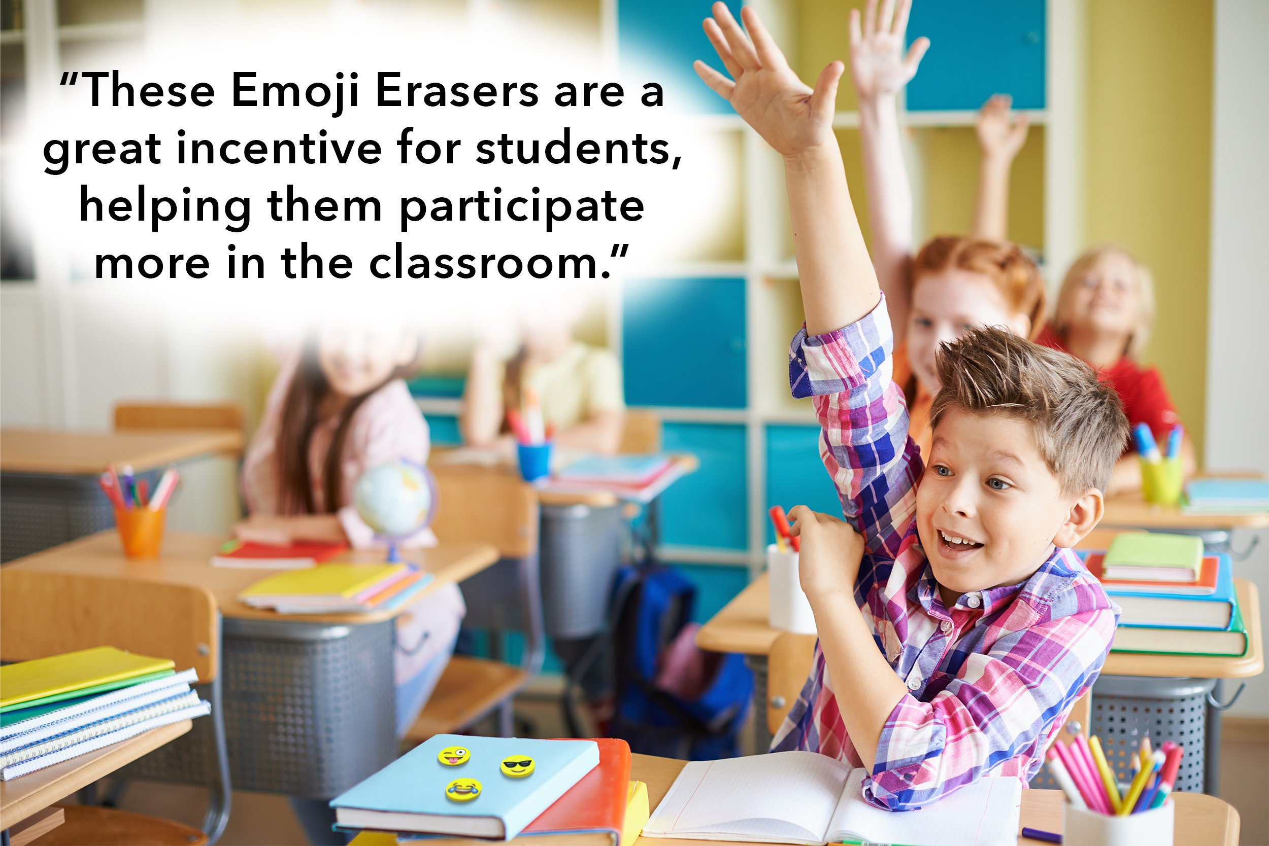 LiveEco Emoji Erasers for Kids, 60 Emoji Pencil Eraser Bulk Pack, Great as Birthday Gifts, Classroom Rewards, Party Favors, Student Incentives, School Supplies, Pair with Fun Pencils by LiveEco (Image #7)