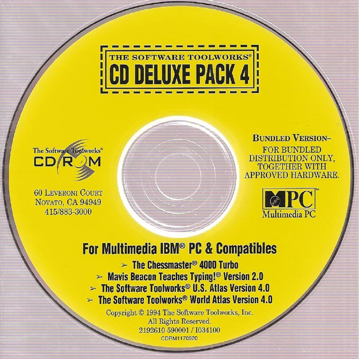 The Software Toolworks CD Deluxe Pack 4: The Chessmaster 4000 Turbo/ Mavis Beacon Teaches Typing Version 2.0/ U.S. Atlas Version 4.0/ World Atlas Version ...