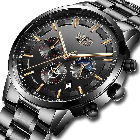 feb6be571a4f LIGE Relojes Hombre Impermeable Deporte Cuarzo Analógico Reloj Hombre Moda  Casual Cronógrafo Negro Acero Inoxidable Reloj de Pulsera  Amazon.es   Relojes