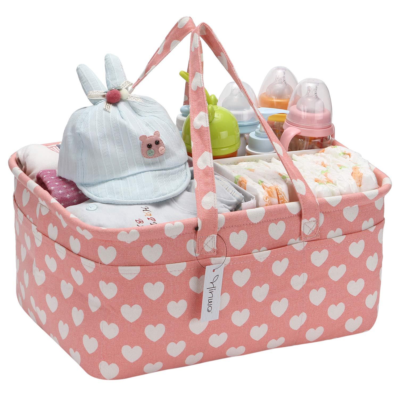 Hinwo Baby Windel Caddy 3-Compartment Infant Nursery Tote Aufbewahrungsbeh/älter Tragbare Organizer Neugeborenen Dusche Geschenkkorb mit abnehmbarem Teiler 13 unsichtbaren Taschen f/ür Windeln