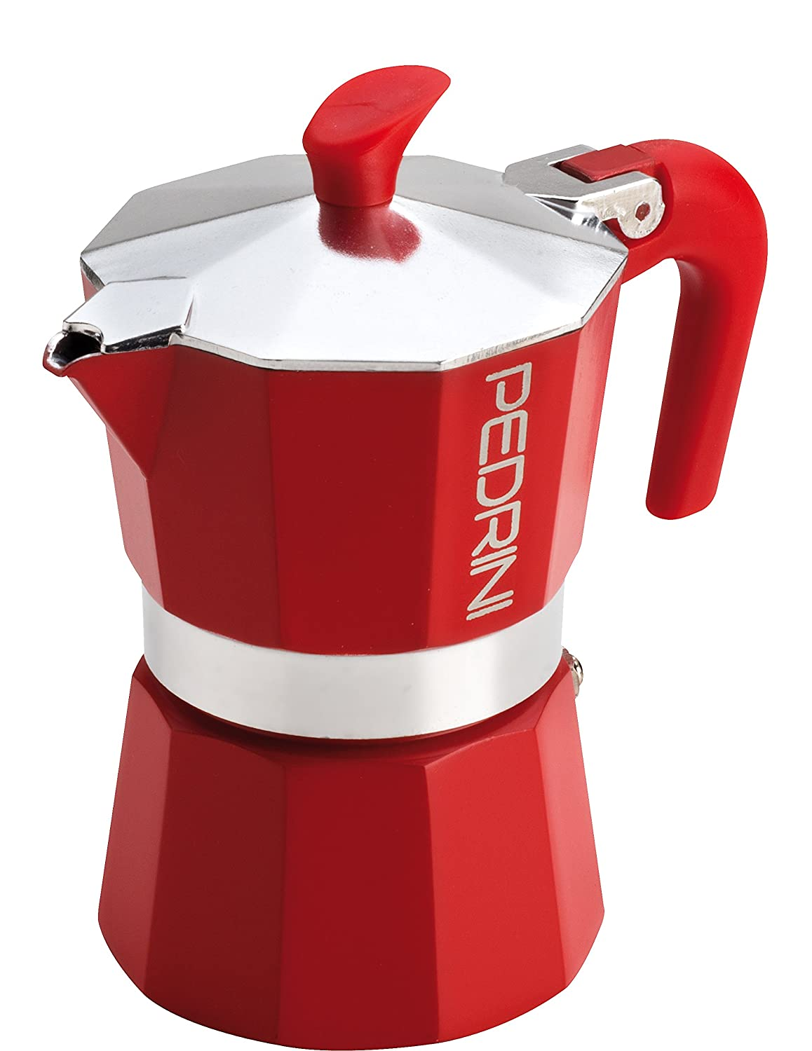 Pedrini Italy AmoraColor Moka Stovetop Espresso Maker with Red or Black Finish, 1 cup, 2 cup, 3 cup, 6 cup Caffettiera Rossa 3Tz Pedrini