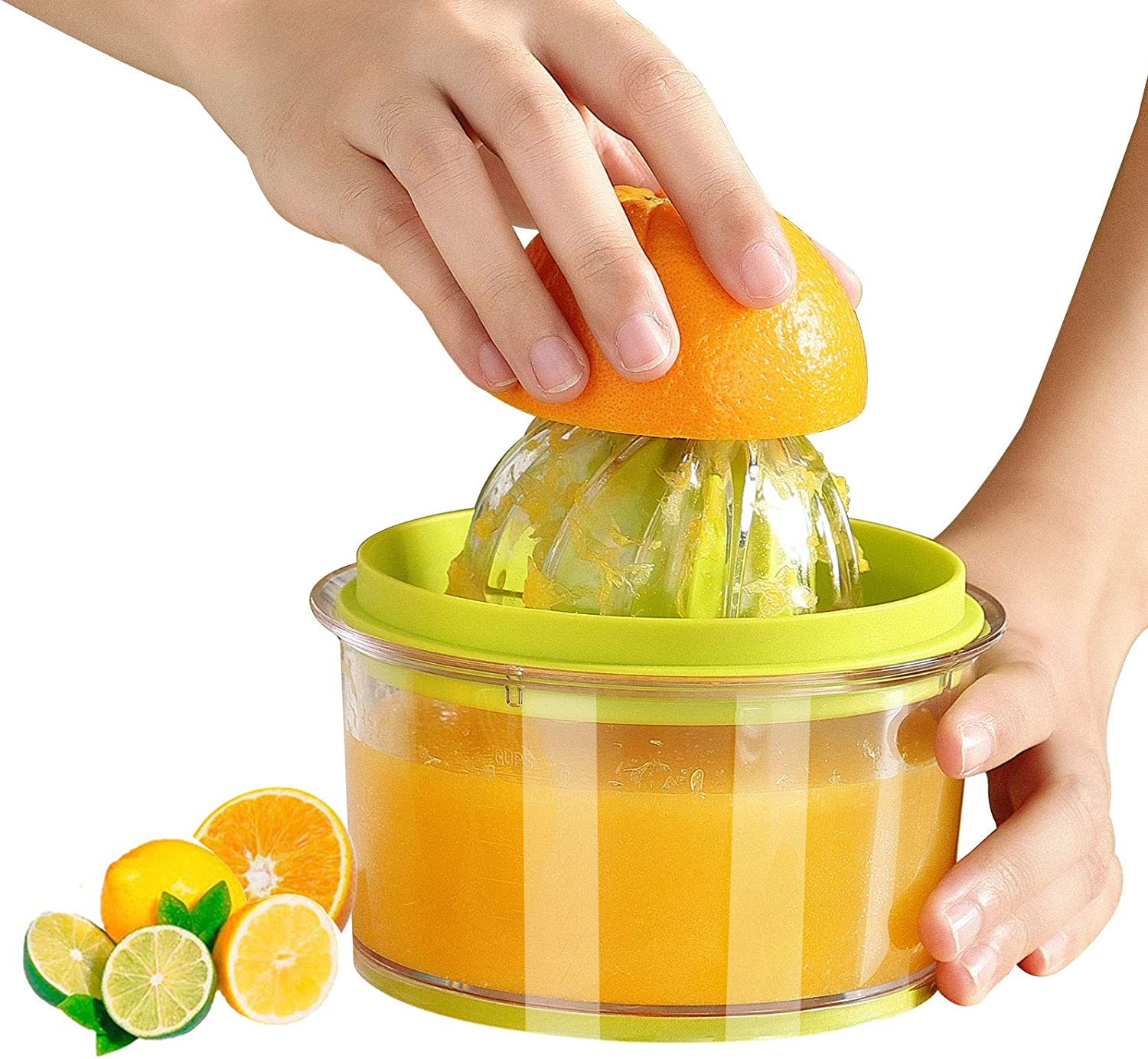 Citrus Lemon Orange Juicer, Manual Hand Squeezer with Built-in 16OZ Measuring Cup and Grater Multi-function Manual Juicer with Multi-size Reamers, Ginger Garlic Cheese Grater, With Non-Slip Base (green)