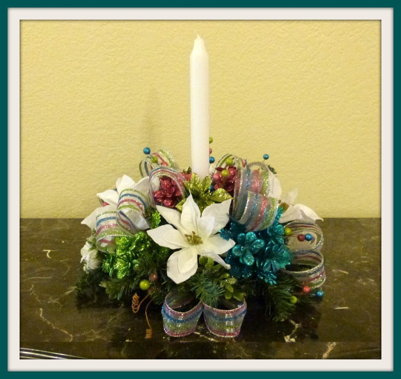 Pink & Blue Christmas Candle Centerpiece, Christmas Candle Floral Arrangement