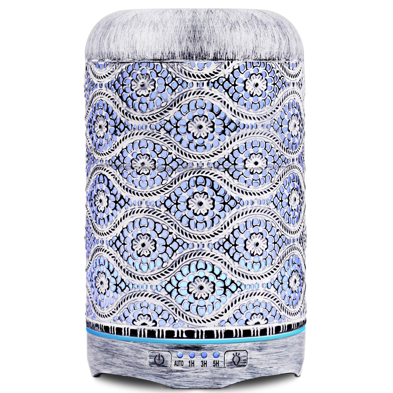 SALKING 260ml Essential Oil Diffuser, Metal Aromatherapy Diffuser Retro White Craft Oil Diffuser 7 Color LED Light Cool Mist Humidifier Waterless Auto Shut-off for Home Bedroom Office Yoga Spa