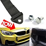red 2PCs Car Dress Rally Drift Loop Tow Hook Strap Racing Hook Tow Strap Motorsport Towing Strap Hook Front Rear Bumper Decor