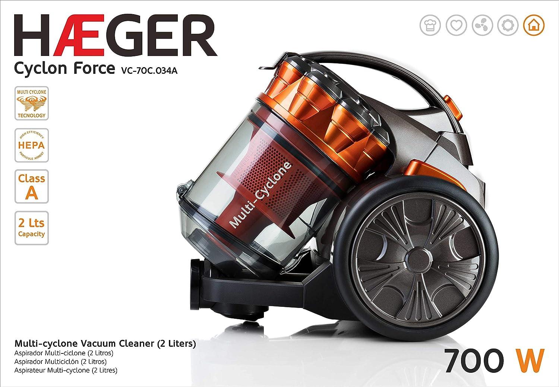 HAEGER CYCLON Force - Aspirador Multi-ciclónico Sin Bolsa, 700W ...