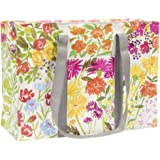 Blue Q Shoulder Tote, Flower Garden. The carry-everywhere bag that features a hefty zipper, exterior pocket, wrap-around stra