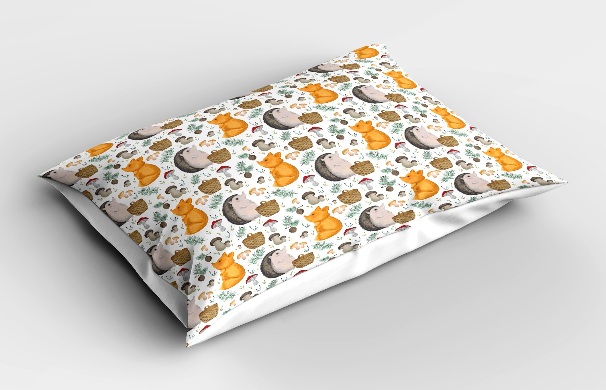 Ambesonne Hedgehog Pillow Sham, Pattern with Hedgehog Fox Basket Mushrooms Cones and Spruce Life in The Woods, Decorative Standard King Size Printed Pillowcase, 36 X 20 inches, Multicolor by Ambesonne (Image #2)